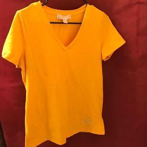 Michael Kors Yellow V-Neck Tee Size Medium